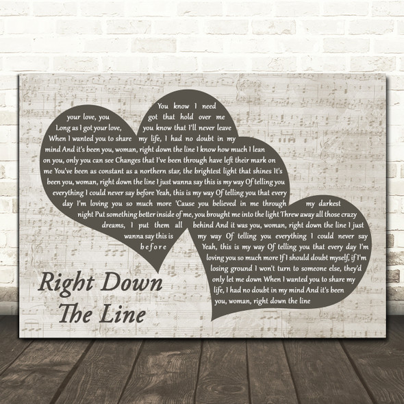 Gerry Rafferty Right Down The Line Landscape Music Script Two Hearts Wall Art Gift Song Lyric Print