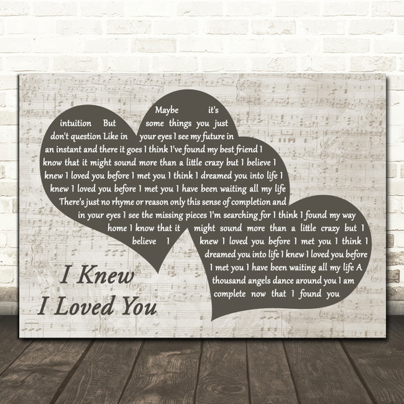 Savage Garden I Knew I Loved You Landscape Music Script Two Hearts Wall Art Gift Song Lyric Print