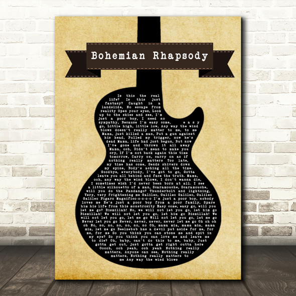 Queen Bohemian Rhapsody Black Guitar Song Lyric Quote Print