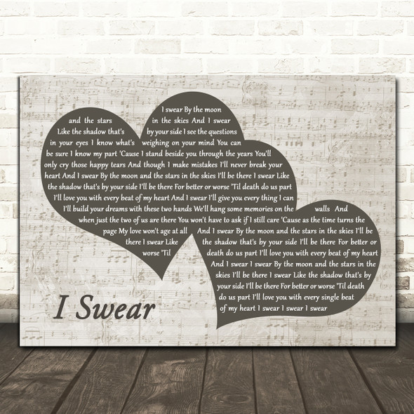 All 4 One I Swear Landscape Music Script Two Hearts Decorative Gift Song Lyric Print