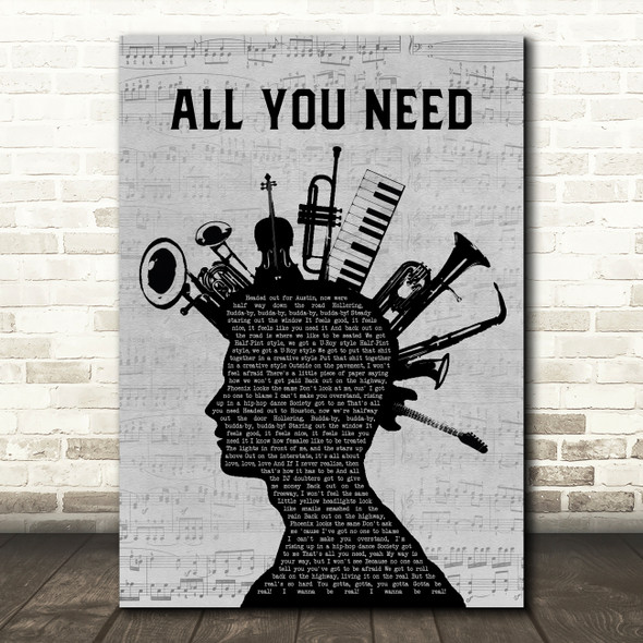 Sublime All You Need Musical Instrument Mohawk Decorative Wall Art Gift Song Lyric Print