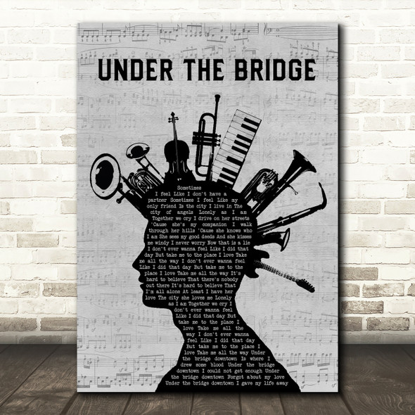 Red Hot Chili Peppers Under The Bridge Musical Instrument Mohawk Gift Song Lyric Print