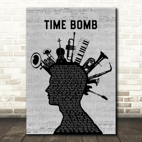 Rancid Time Bomb Musical Instrument Mohawk Decorative Wall Art Gift Song Lyric Print