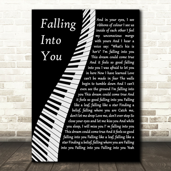 Céline Dion Falling Into You Piano Decorative Wall Art Gift Song Lyric Print