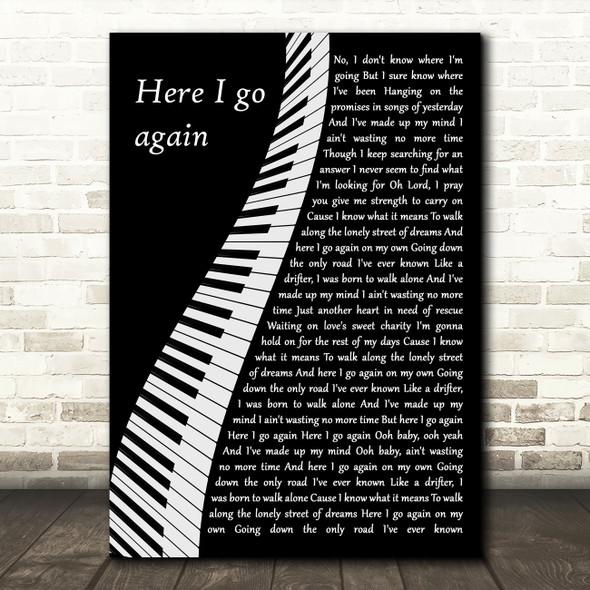 Whitesnake Here I Go Again Piano Decorative Wall Art Gift Song Lyric Print