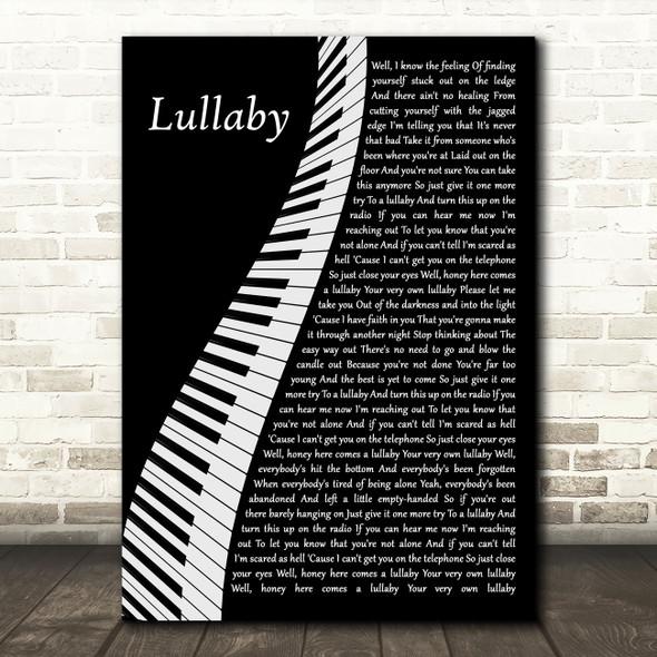 Nickelback Lullaby Piano Decorative Wall Art Gift Song Lyric Print