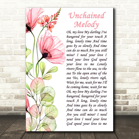 The Righteous Brothers Unchained Melody Floral Poppy Side Script Gift Song Lyric Print