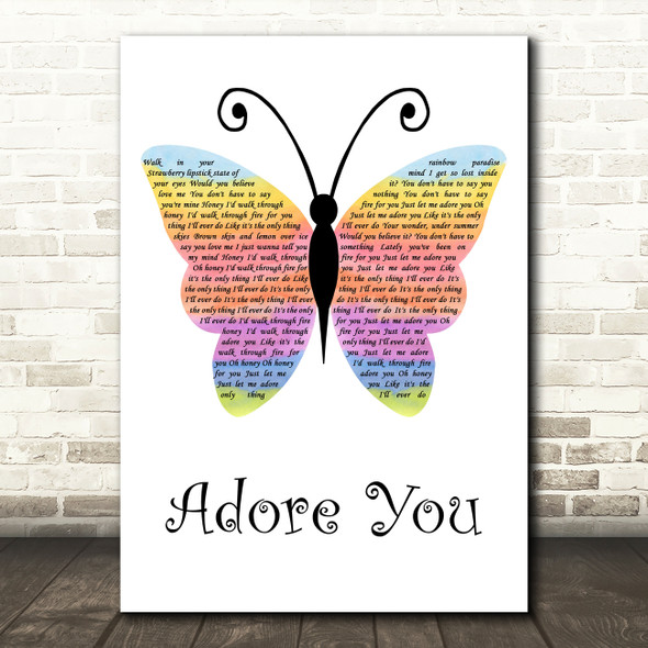 Harry Styles Adore You Rainbow Butterfly Decorative Wall Art Gift Song Lyric Print