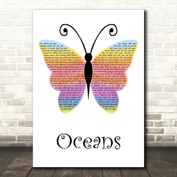 Hillsong United Oceans Rainbow Butterfly Decorative Wall Art Gift Song Lyric Print