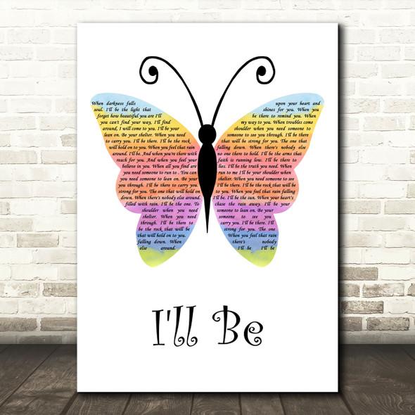 Reba McEntire I'll Be Rainbow Butterfly Decorative Wall Art Gift Song Lyric Print