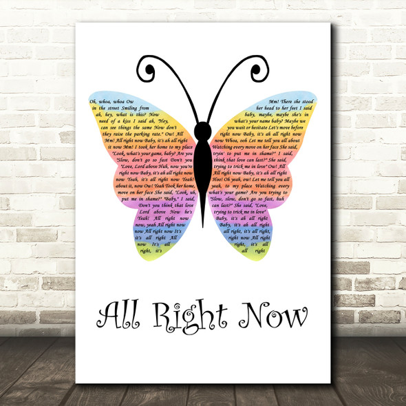 Free All Right Now Rainbow Butterfly Decorative Wall Art Gift Song Lyric Print