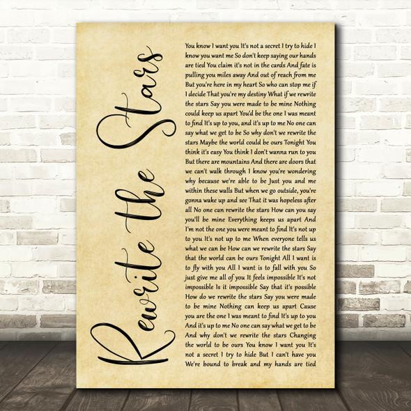Zac Efron, Zendaya - GREATEST SHOWMAN Rewrite the Stars Rustic Script Wall Art Song Lyric Print