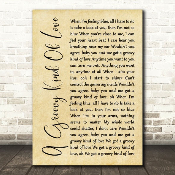 Phil Collins A Groovy Kind Of Love Rustic Script Decorative Wall Art Gift Song Lyric Print