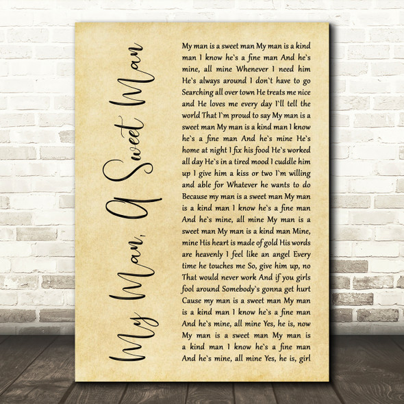 Millie Jackson My Man, A Sweet Man Rustic Script Decorative Wall Art Gift Song Lyric Print