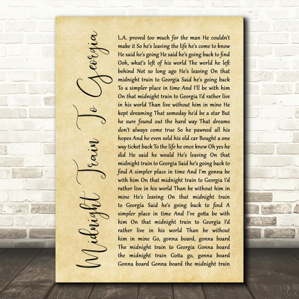 Gladys Knight And The Pips Midnight Train To Georgia Rustic Script Gift Song Lyric Print