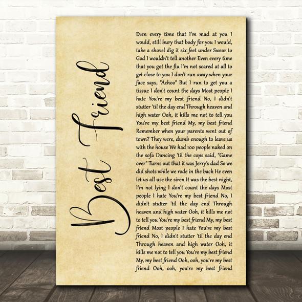 5 Seconds Of Summer Best Friend Rustic Script Decorative Wall Art Gift Song Lyric Print