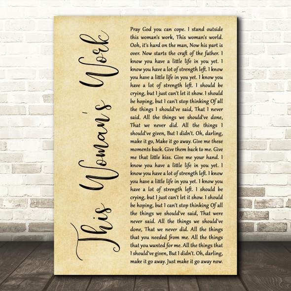 Kate Bush This Woman's Work Rustic Script Decorative Wall Art Gift Song Lyric Print