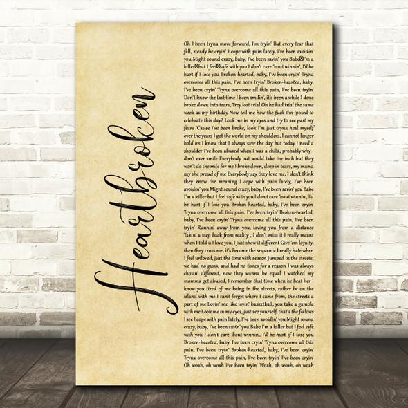 Yungeen Ace Heartbroken Rustic Script Decorative Wall Art Gift Song Lyric Print