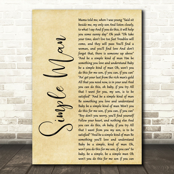 Shinedown Simple Man Rustic Script Decorative Wall Art Gift Song Lyric Print
