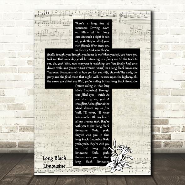 Elvis Presley Long Black Limousine Music Script Christian Memorial Cross Song Lyric Print