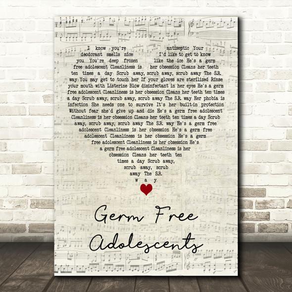 X-Ray Spex Germ Free Adolescents Script Heart Decorative Wall Art Gift Song Lyric Print
