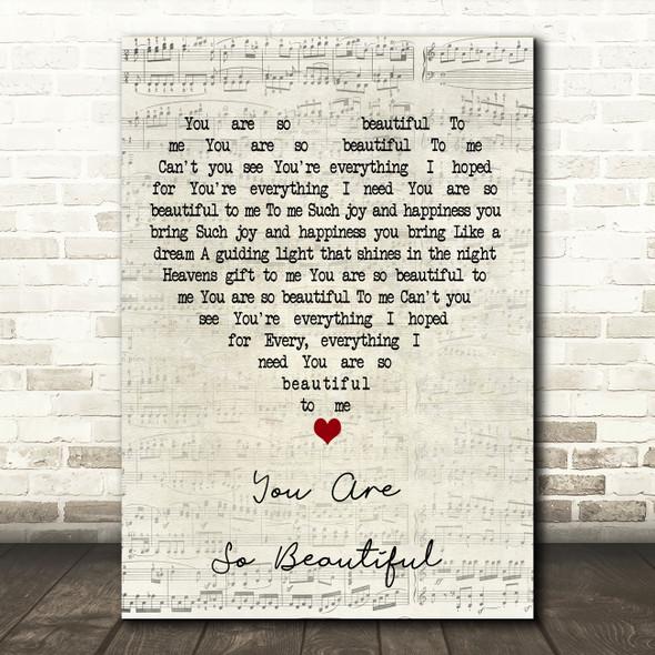 Joe Cocker You Are So Beautiful Script Heart Decorative Wall Art Gift Song Lyric Print