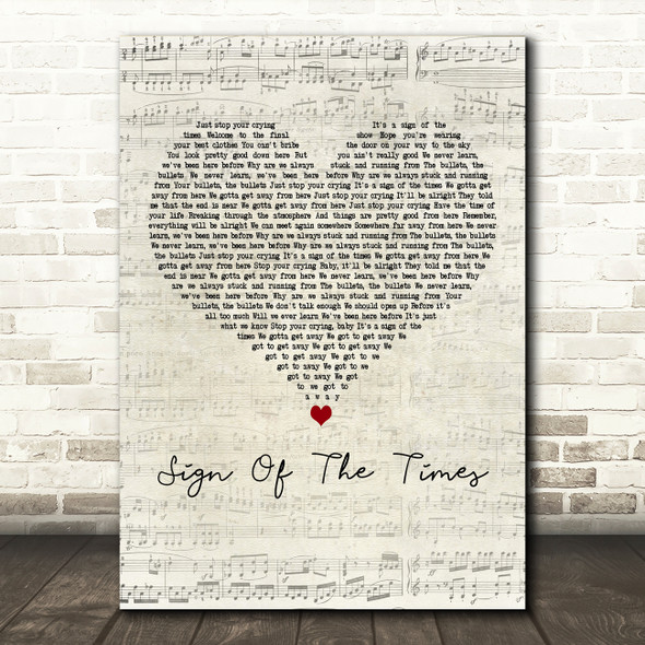 Harry Styles Sign Of The Times Script Heart Decorative Wall Art Gift Song Lyric Print