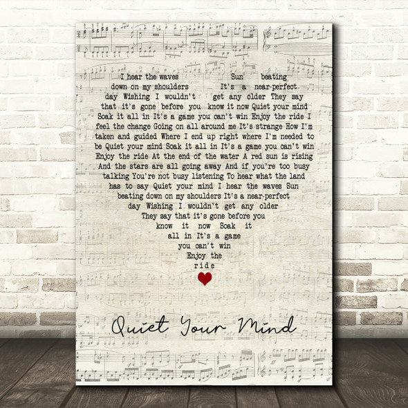 Zac Brown Band Quiet Your Mind Script Heart Decorative Wall Art Gift Song Lyric Print
