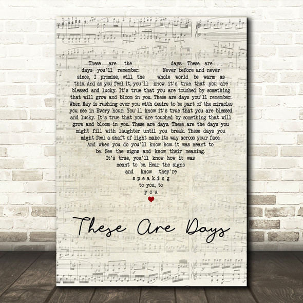 10000 Maniacs These Are Days Script Heart Decorative Wall Art Gift Song Lyric Print