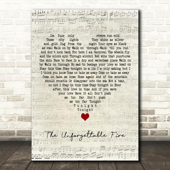 U2 The Unforgettable Fire Script Heart Decorative Wall Art Gift Song Lyric Print