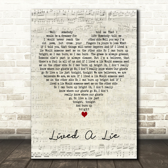 You Me At Six Lived A Lie Script Heart Decorative Wall Art Gift Song Lyric Print