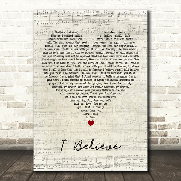 Stevie Wonder I Believe Script Heart Decorative Wall Art Gift Song Lyric Print