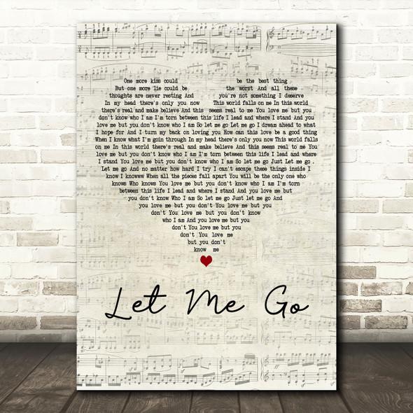 3 Doors Down Let Me Go Script Heart Decorative Wall Art Gift Song Lyric Print
