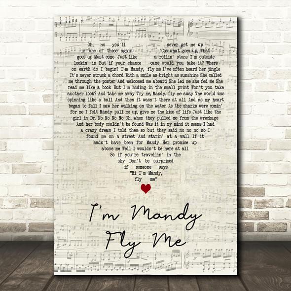 10cc I'm Mandy Fly Me Script Heart Decorative Wall Art Gift Song Lyric Print