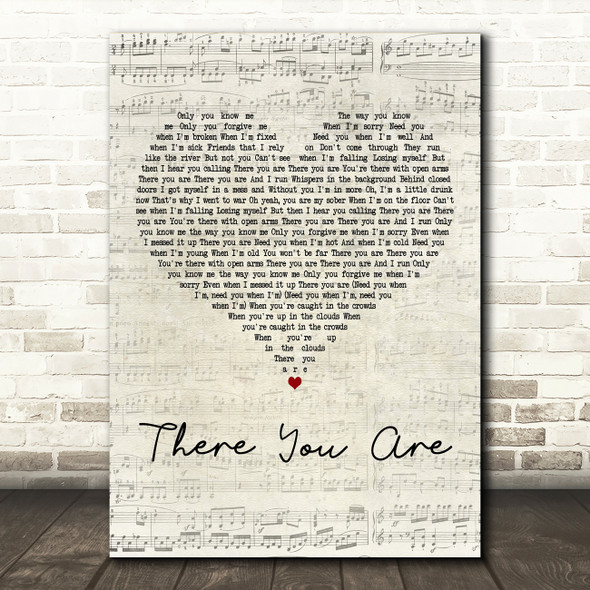 ZAYN There You Are Script Heart Decorative Wall Art Gift Song Lyric Print