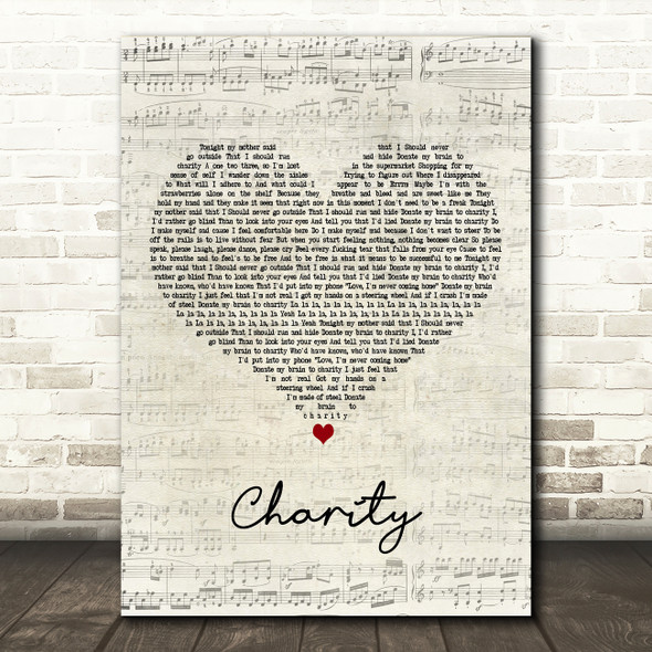 YUNGBLUD charity Script Heart Decorative Wall Art Gift Song Lyric Print