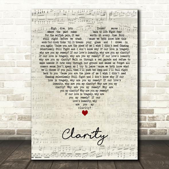 Zedd Clarity Script Heart Decorative Wall Art Gift Song Lyric Print