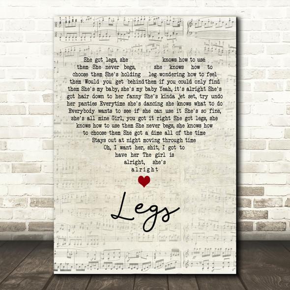 ZZ Top Legs Script Heart Decorative Wall Art Gift Song Lyric Print