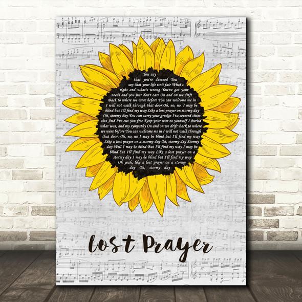 Zakk Wylde Lost Prayer Grey Script Sunflower Decorative Wall Art Gift Song Lyric Print