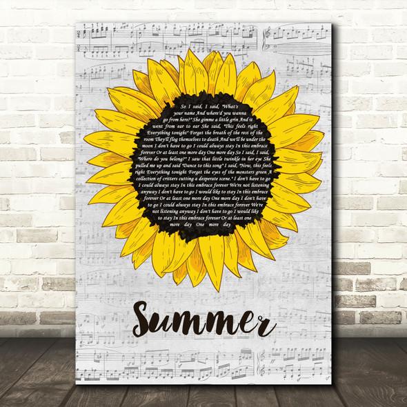 The Courteeners Summer Grey Script Sunflower Decorative Wall Art Gift Song Lyric Print