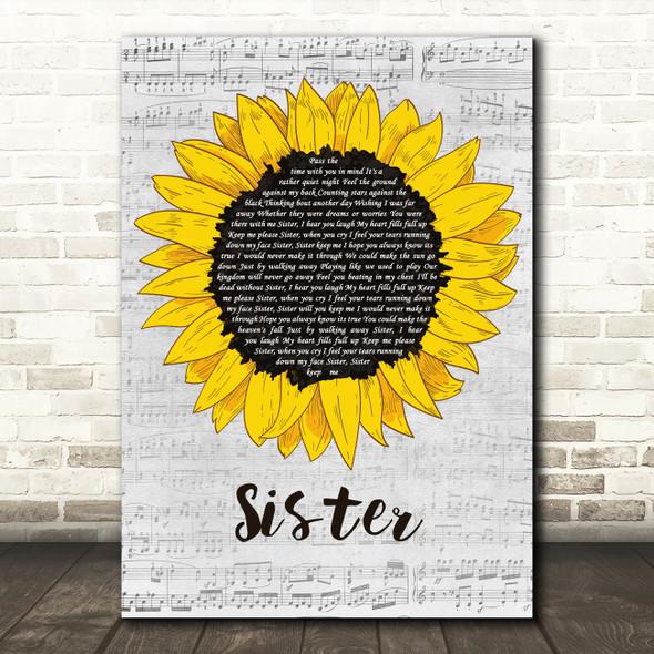 Dave Matthews Sister Grey Script Sunflower Decorative Wall Art Gift Song Lyric Print