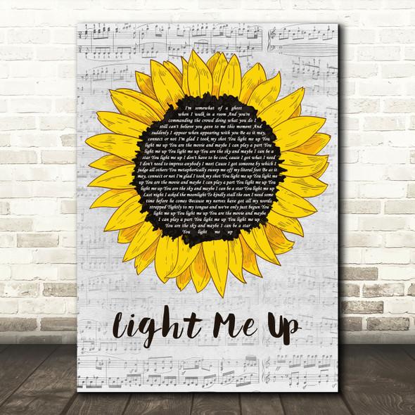 Bayside Light Me Up Grey Script Sunflower Decorative Wall Art Gift Song Lyric Print