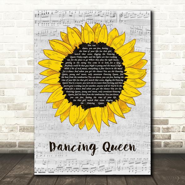 ABBA Dancing Queen Grey Script Sunflower Decorative Wall Art Gift Song Lyric Print