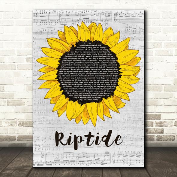Vance Joy Riptide Grey Script Sunflower Decorative Wall Art Gift Song Lyric Print