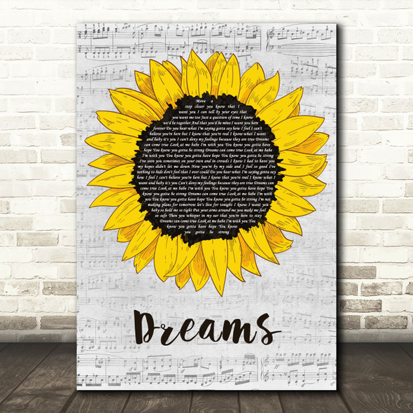 Gabrielle Dreams Grey Script Sunflower Decorative Wall Art Gift Song Lyric Print