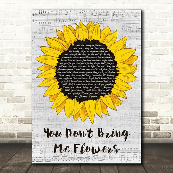 Neil Diamond You Don't Bring Me Flowers Grey Script Sunflower Song Lyric Print