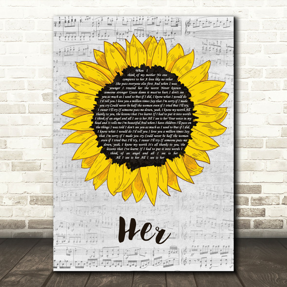 Anne-Marie Her Grey Script Sunflower Decorative Wall Art Gift Song Lyric Print