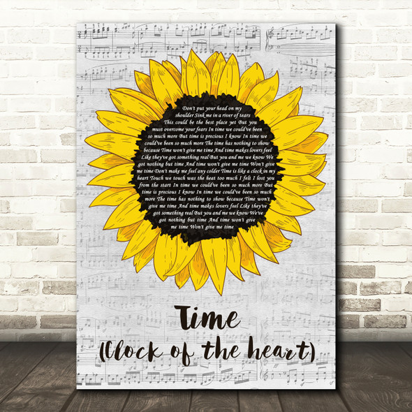 Culture Club Time (Clock Of The Heart) Grey Script Sunflower Song Lyric Print