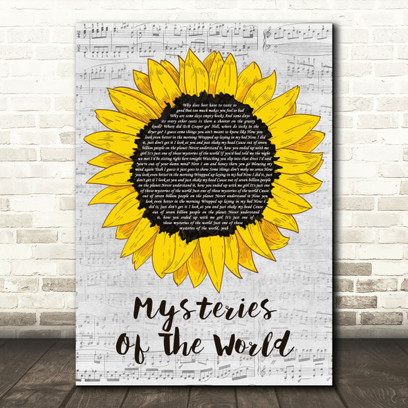 Walker McGuire Mysteries Of The World Grey Script Sunflower Song Lyric Print