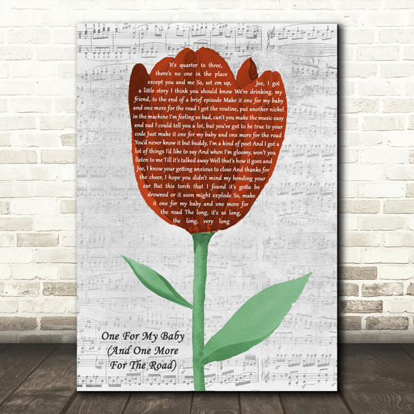 Frank Sinatra One For My Baby (And One More For The Road) Grey Script Watercolour Tulip Song Lyric Print